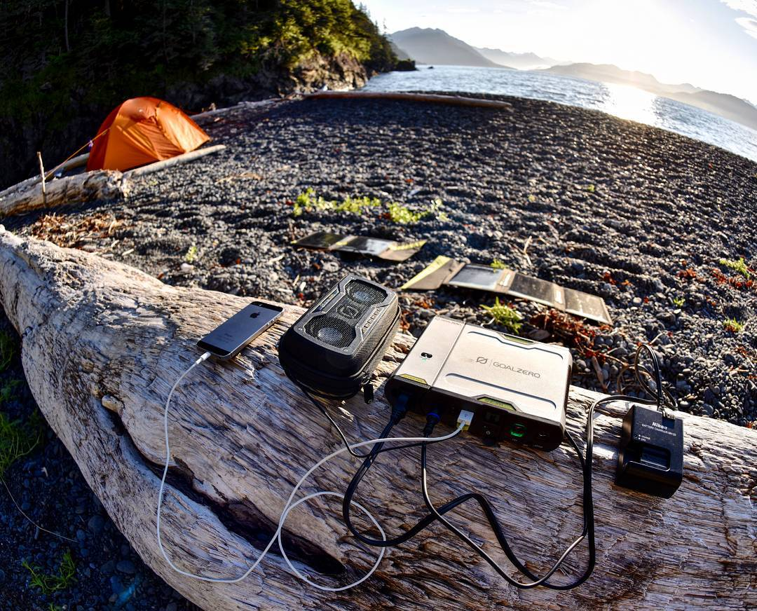 """There's a lot of equipment to keep powered on a remote project like kayaking Prince William Sound (cameras, GPS, personal devices) and keeping everything powered for 10 days can be a challenge. The crew used Flip 10's to power their personal gear..."