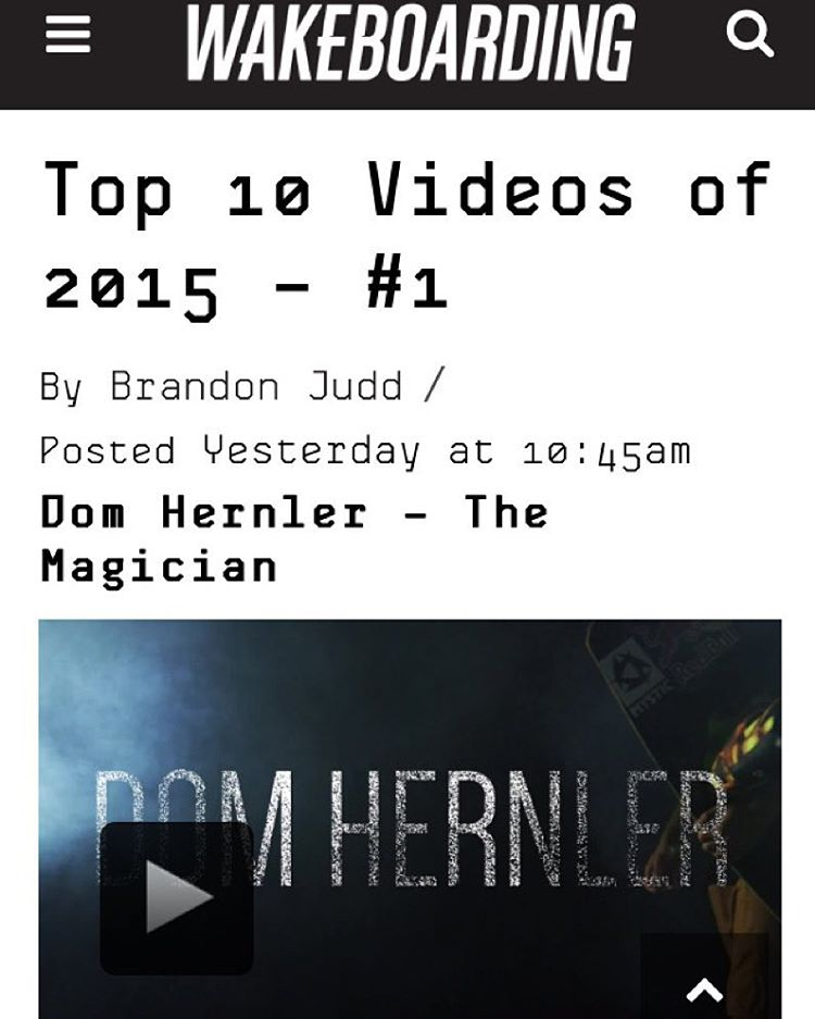 """Dom Hernler - The Magician took the #1 spot for WAKEBOARDING's Top 10 Videos of the Year! Be sure to check it out!"" Congrats @domhernler! @wakeboardingmag"