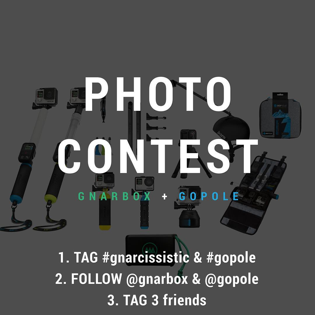 GNARBOX x GoPole Giveaway! Head over to @gnarbox for more information on how to enter to win a GnarBox 128Gb, GoPro HERO4 and GoPole Super Bundle. #gopole #gnarbox #GNARCISSISTIC