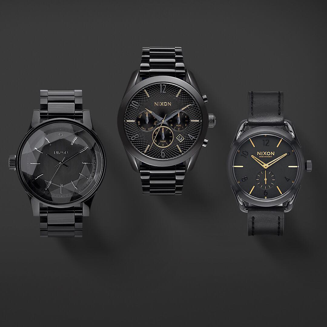 #GetGifting with #Nixon: All black is sure to please anyone on your list. Featuring the #Facet, the #BulletChrono and the #C39.