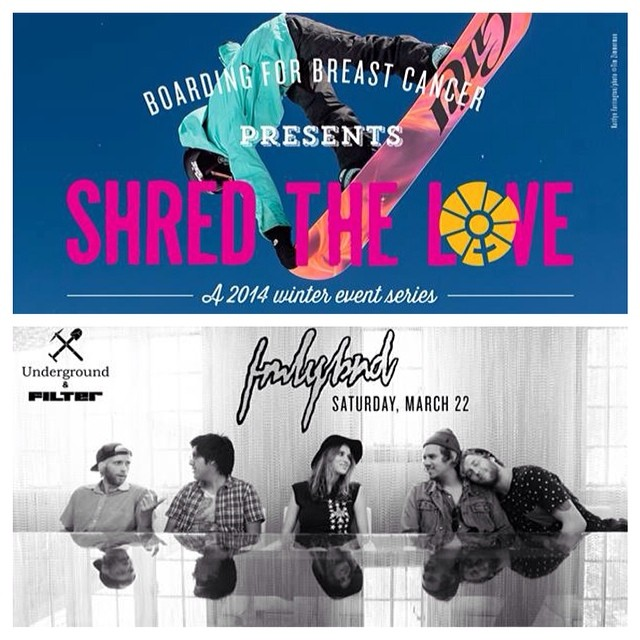 SHRED THE LOVE // We are so excited to announce that @FMLYBND will be playing this Saturday night at @UndergroundMammoth for B4BC's #SHREDTHELOVE weekend at @MammothMountain!! Join us for a weekend of live music, networking events, morning B4BC Yoga...
