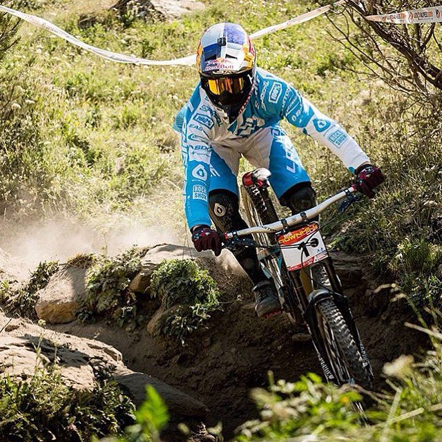 #TBT @loicbruni29 seeding at #Crankworx #lesdeuxalpes in his fresh Rage Kneepads.  Hit up sixsixone.com/news to scope some of the great images we shot for our 2016 range with @davetrumporephoto. #sixsixone #661 #661protection #ProtectFun