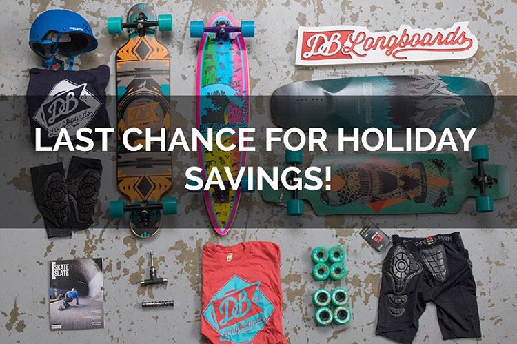 Our holiday shipping special where you can get 50% off 2 and 3 day shipping ends today! Don't sleep on these special offers and don't forget we are offering free gifts on all orders over $100, so we got your stocking stuffers covered! #dblongboards...