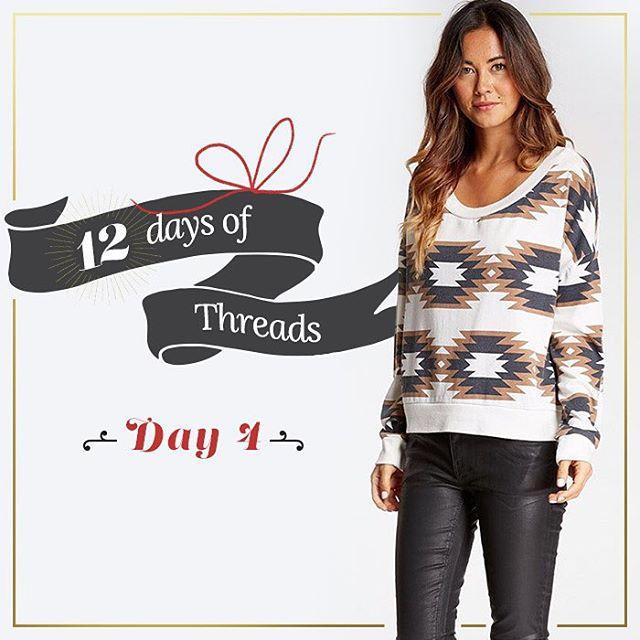 12 Days of Threads- Day 4⃣ #GIVEAWAY. #WIN our Sequoia Top. A fun pattern on an insanely comfortable sweatshirt. Follow @threads4thought, REPOST this photo tagging @threads4thought & #12daysofT4T for a chance to win! #prize #win #holidaygiveaway #comfy...