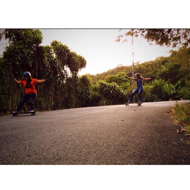 Our girls together in #CostaRica! @pamelc04 & @jackymadenfrost ripping. Look at that road! #longboardgirlscrew