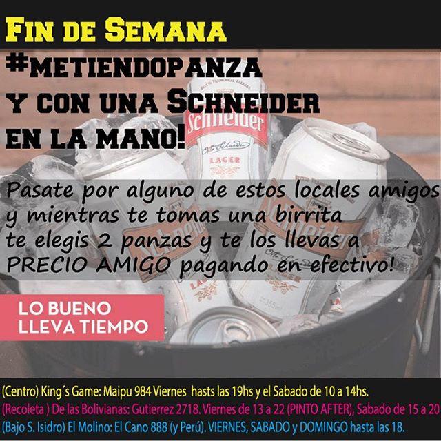 Fin de semana #metiendopanza a precio amigo! Veni y te llevas puesta una @schneiderarg !
