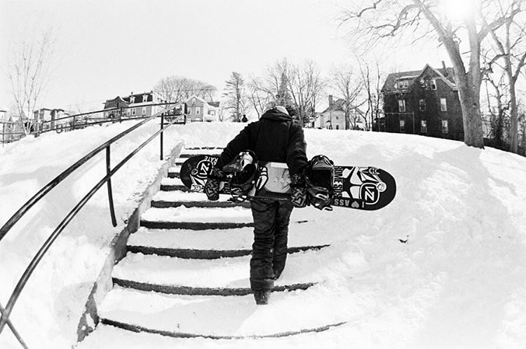 Up next.. @bigairmare on #film.  She is one of the kindest coolest girls I know in the snowboard game.  Snagged this one of her walking up the stairs after probably attempt 30 or 40 trying to conquer the legendary quad kink in RI... In the end she got...