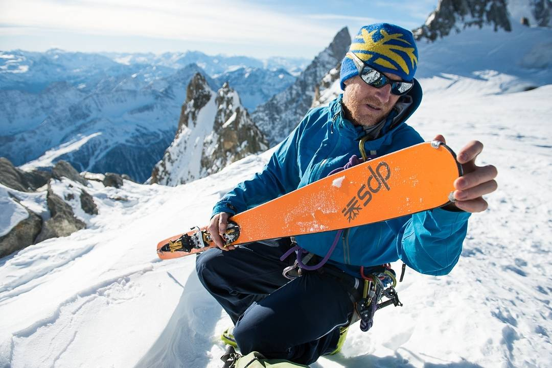 DPS Ambassador, Clément Iribarnes gearing up for the down in Aiguilles d'Entrèves, Chamonix.  Photo: Guillaume Maurel. #dpsskis #Chamonix #Europe