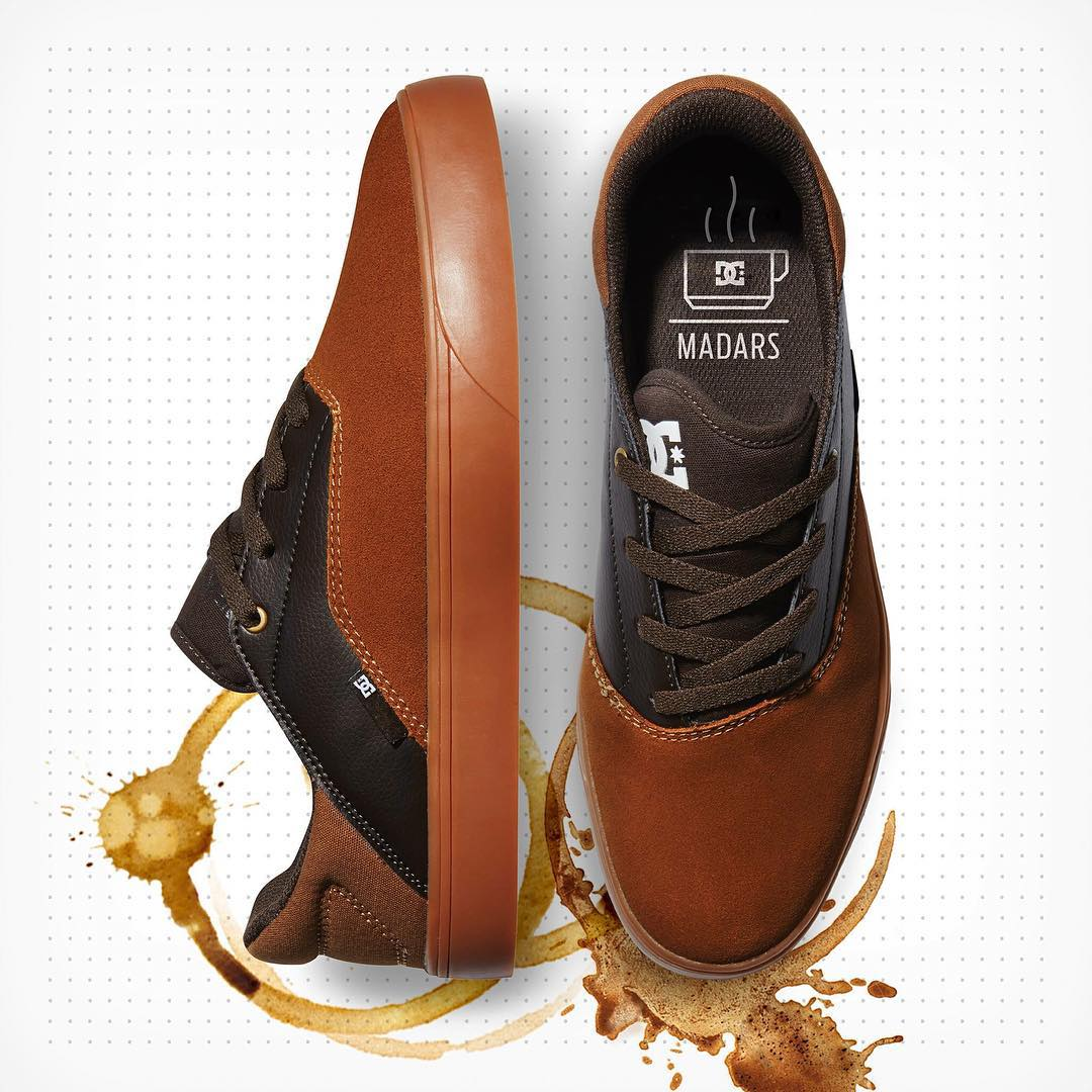 The coffee inspired @madarsapse colorway of the new Wallon shoe is now available at skateshops everywhere and dcshoes.com/madars-Wallon. #MadarsApse #DCShoes