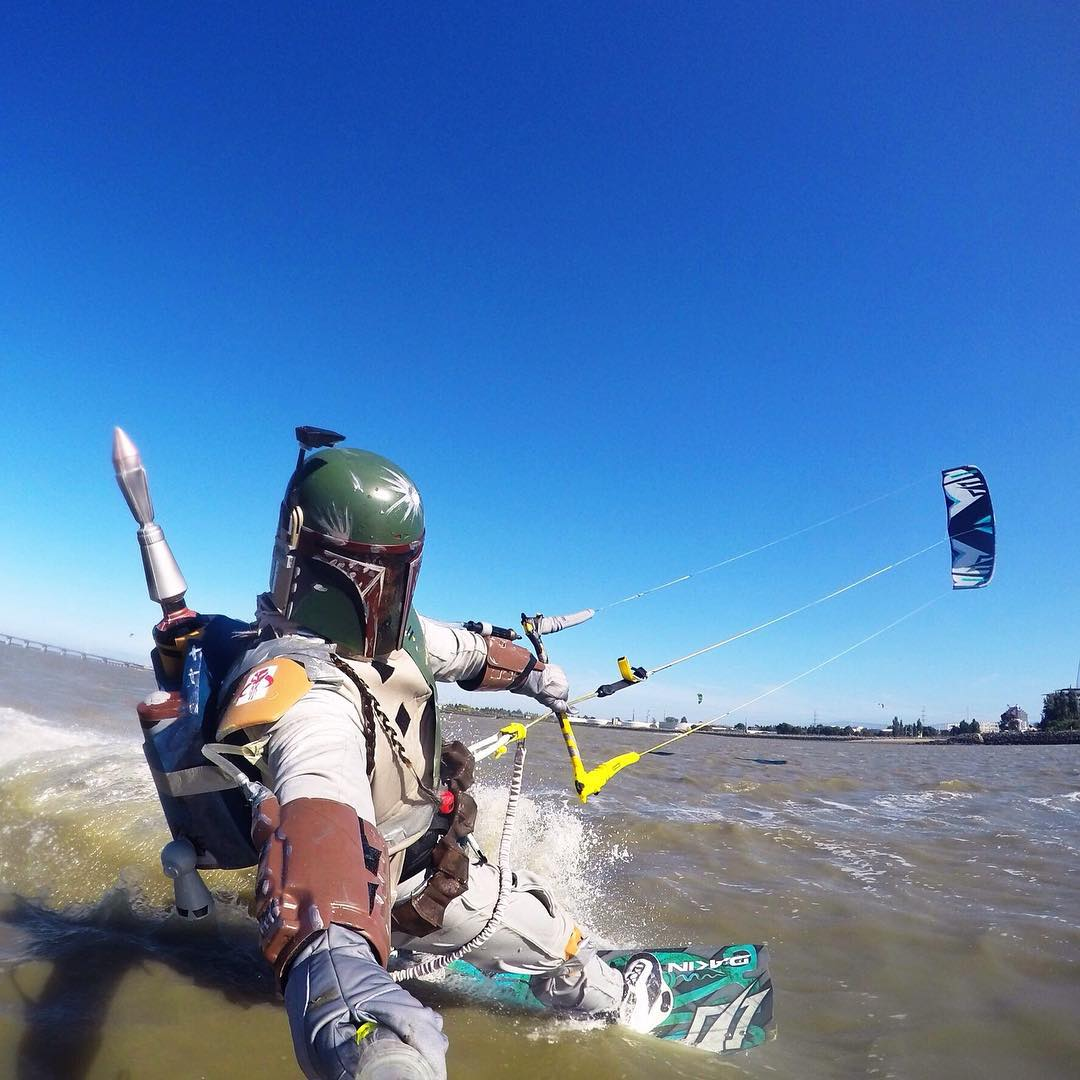 When Boba Fett isn't collecting intergalactic bounties...he rips his #kiteboard! #