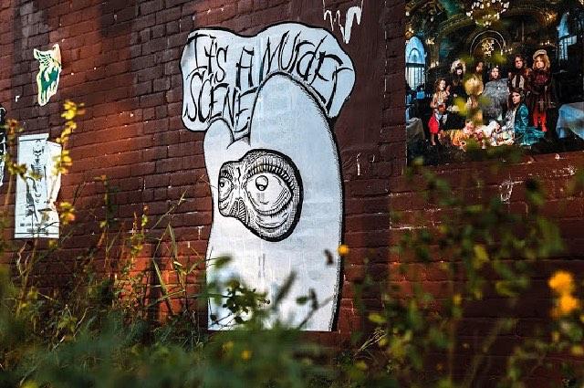 """@bortart • • """"It's a murder scene"""" • • #atx #art #streetart #graffiti #grafite #spratx #bort"""
