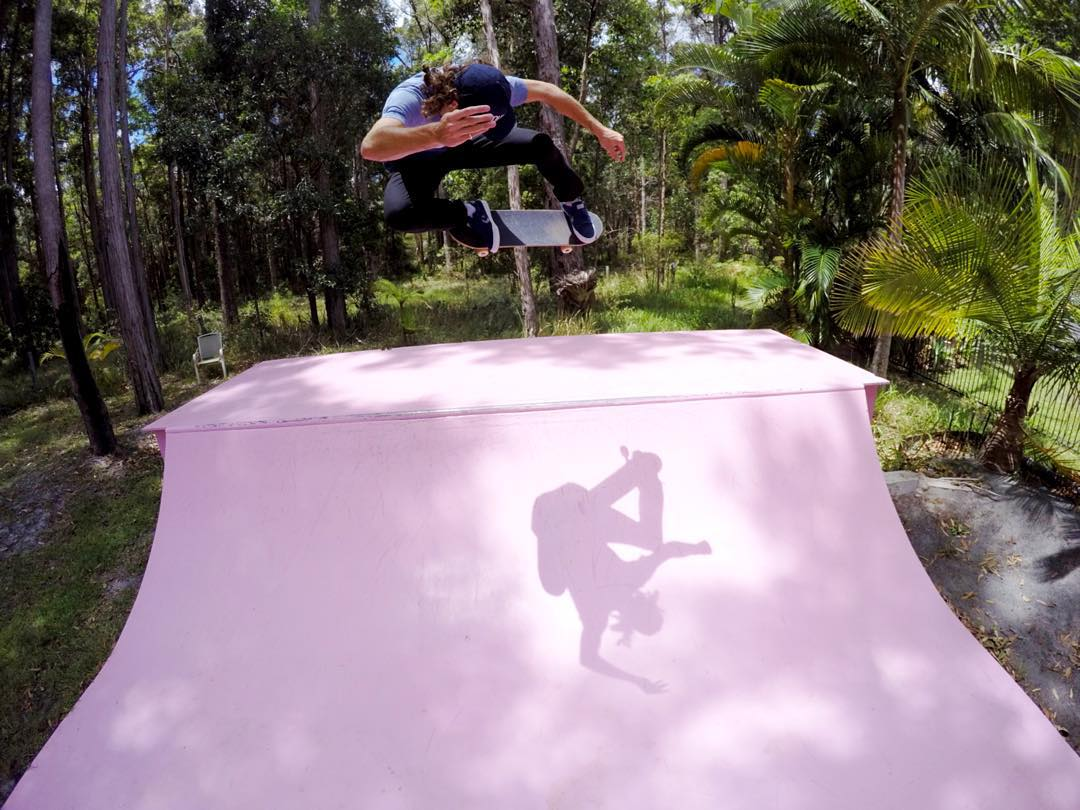 GoPro Featured Photographer and Professional #Skateboarder - @andrewbrophy  About the Shot: This is my #ramp dubbed the Pink Mini. It was my project while recovering from an injury that I built it in my backyard. When I finished, it looked pretty...