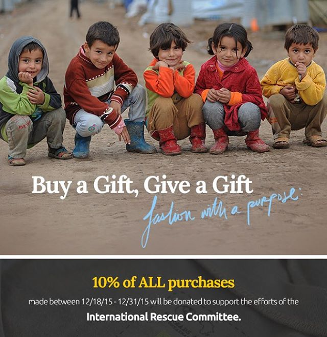 Today through December 31, we will be giving 10% of all purchases to the International Rescue Committee- helping those who have been affected by crisis. @theirc #shopforacause #buyagiftgiveagift #giveback #holidays #support #help