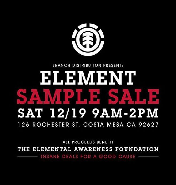 Element Sample Sale this Saturday 12/19 to benefit the @elementalawareness Foundation.  Great deals for your holiday shopping.  Repost this flyer for $5.00 off at the sale and help us spread the word. See you Saturday!  #gooddealsforagoodcause