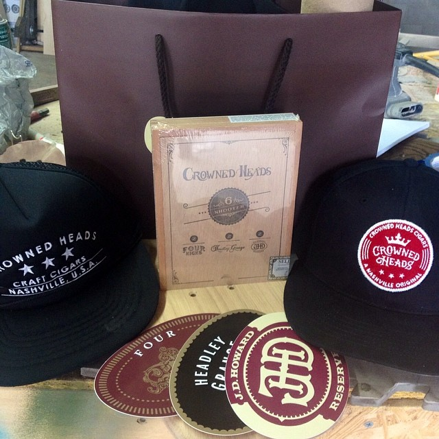 The guys over at @thecrownedheads just stopped by the shop and hooked us up with some sweet new gear. Everyone should head over their way for any of your cigar needs. Thanks guys.