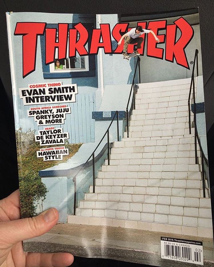 Congrats to @starheadbody for getting the cover of the new @thrashermag! Photo: @davidbroach #EvanSmith #DCShoes