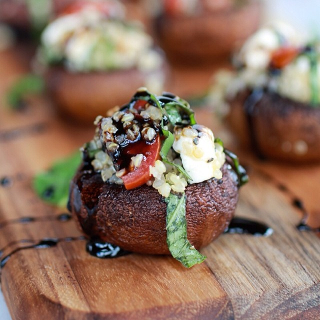 TASTY TUESDAYS // CAPRESE QUINOA GRILLED STUFFED MUSHROOMS WITH BALSAMIC GLAZE  Fresh spring produce is finally starting to pop up in the grocery store, and what better way to make use of some delicious portobello mushrooms and fresh tomatoes and basil...