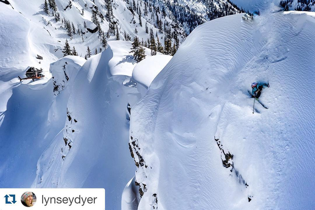 No fall zone. Repost from @lynseydyer ・・・ No fall zone. This was a super steep turn over lots of exposure below. Can you see the Heli parked low in the background? @unicornpicnic Photo: @grant_gunderson #liveyouradventure