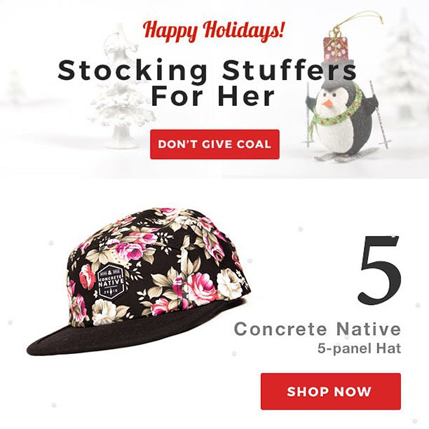 @goodpeoplecom giving us some more love and putting the El Segundo Hat at #5 on their list for Stocking Stuffers for Her! International folks with their eye on some Concrete Native gear should look to Good People for low international shipping...