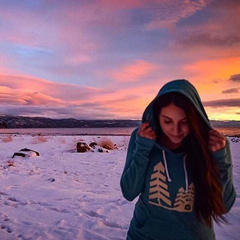 The one and only @britthobart modeling our bestselling Tree Pullover. That Tahoe sunset doesn't hurt either!