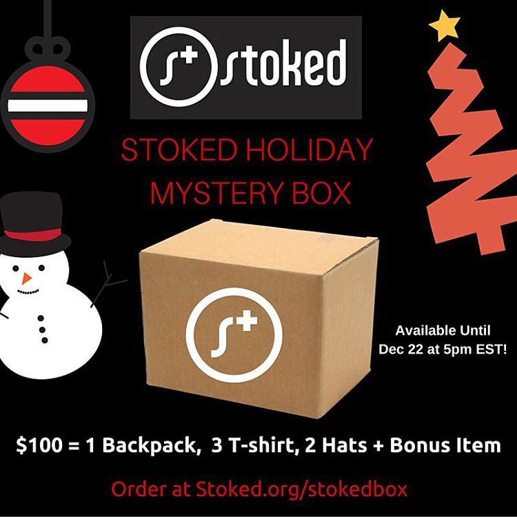 There's only a couple of days left to get your STOKED Holiday Mystery Box! It's packed with rad goodies and proceeds benefit @stokedorg. Perfect as a gift for you or a friend! Details in the link in our bio