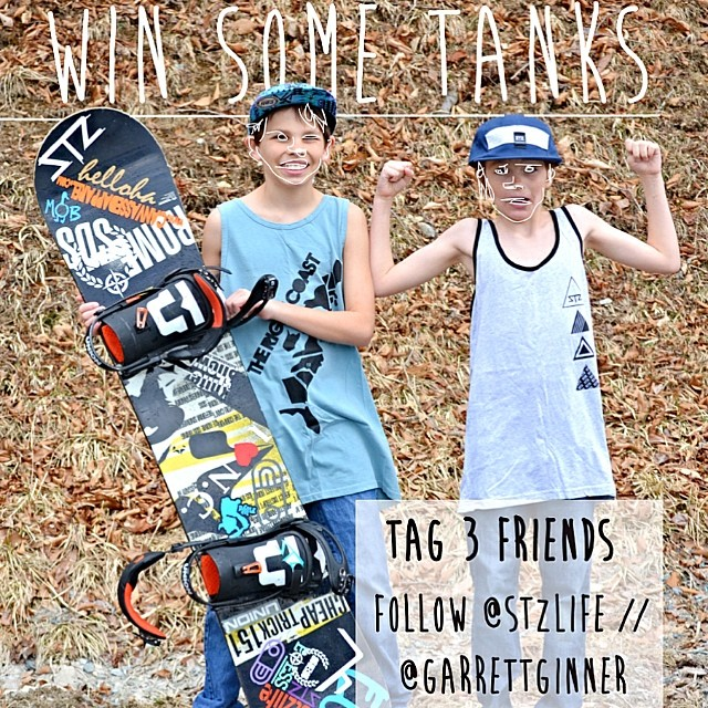 CONTEST!!! We decided to do another give away.. We are stoked for warm weather so we are giving some tanks away // follow @garrettginner  @stzlife and TAG 3 friends .... Simple as that. Enjoy #stzlife #giveaway #contest #free #happyshredding #tanktop...