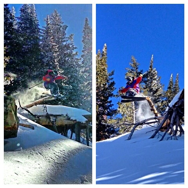 Two takes on the same tap... TanSnowMan at Pebble Creek last week... Photos: @boferro @kirkg8  #magicskiwands #pandatribe #tansnowman #skitherock