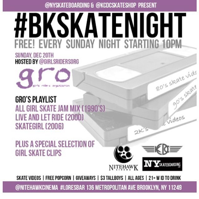 Tonight we are sponsoring #bkskatenight at #loresbar Come watch female skate videos, answer trivia, win prizes, and chill with us. All ages, free popcorn and giveaways @fueledbytheroar @nitehawkcinema @nyskateboarding #ridetrue #ladiesofshred #girlskaters