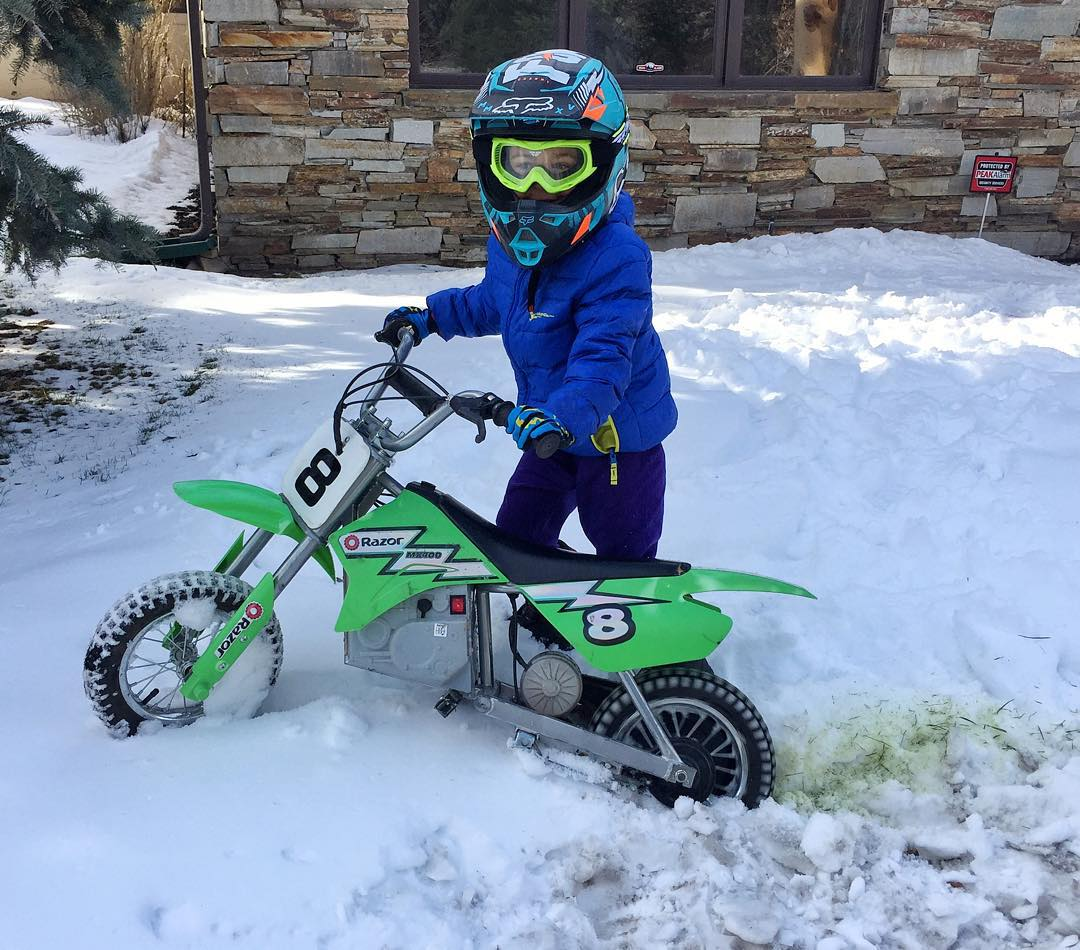 My son has a full-blown 2-wheel addiction. And he's only 4. It's cold here and there's snow on the ground, but he still insists on riding his electric dirt bike whenever and wherever he can. I have trained him well, no? #yesheisdoingaburnout...
