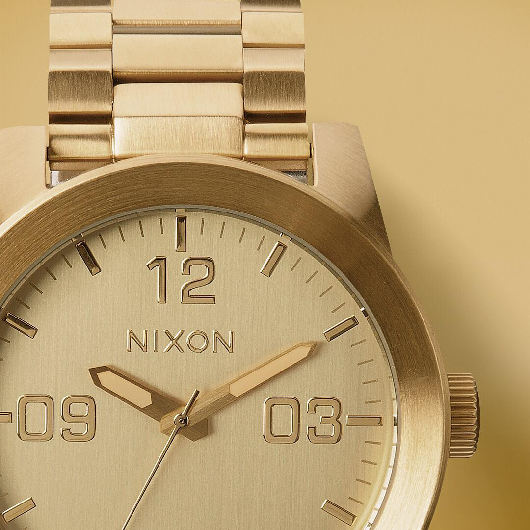 The strategic blend of high-caliber construction and disciplined design result in a forceful display of superior style, welcome the all gold #Corporal. Available in our holiday gift guide on Nixon.com. #GetGifting #Nixon