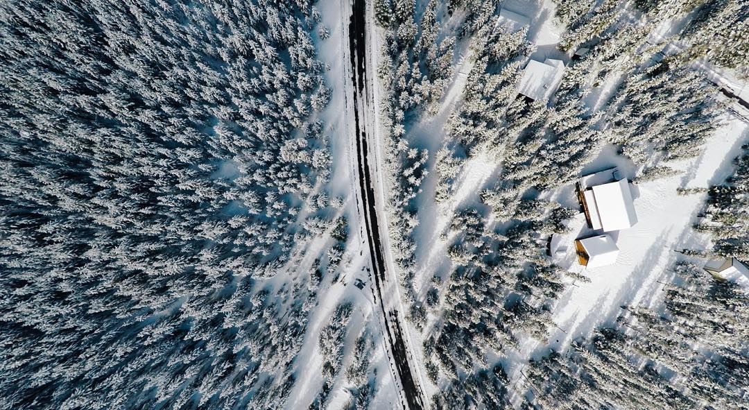 Photo of the Day! We're loving @djisupertramp's top down view of the West Yellowstone forest after a fresh dusting. Share your winter vibes with us by hitting the link in our bio. #GoProSnow #GoPro