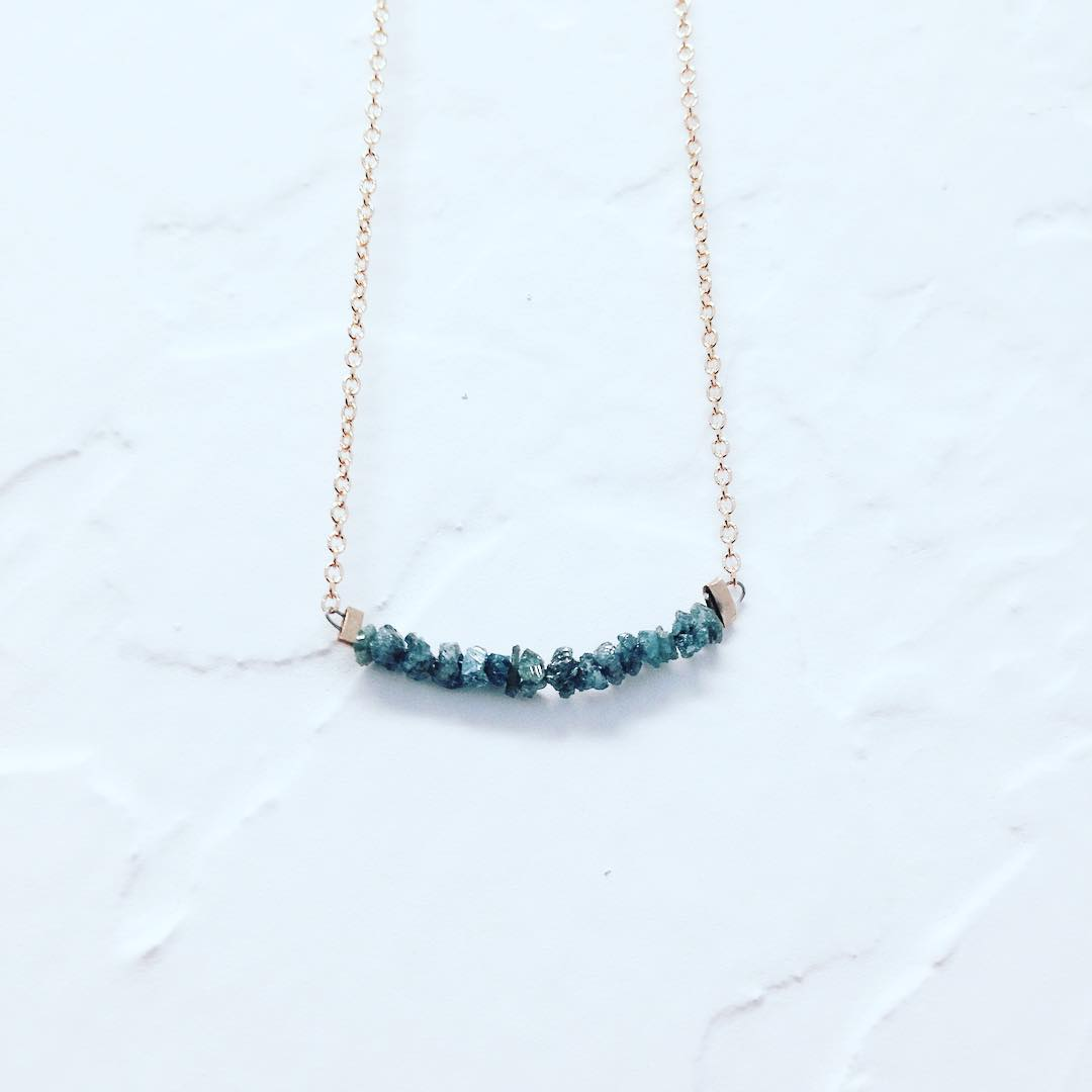 Blue Diamond Necklace.  Raw, rough rare blue diamonds set onto 14k gold.  Things just keep getting better. #holiday #diamonds #somethingblue #juliaszendrei #giftguide