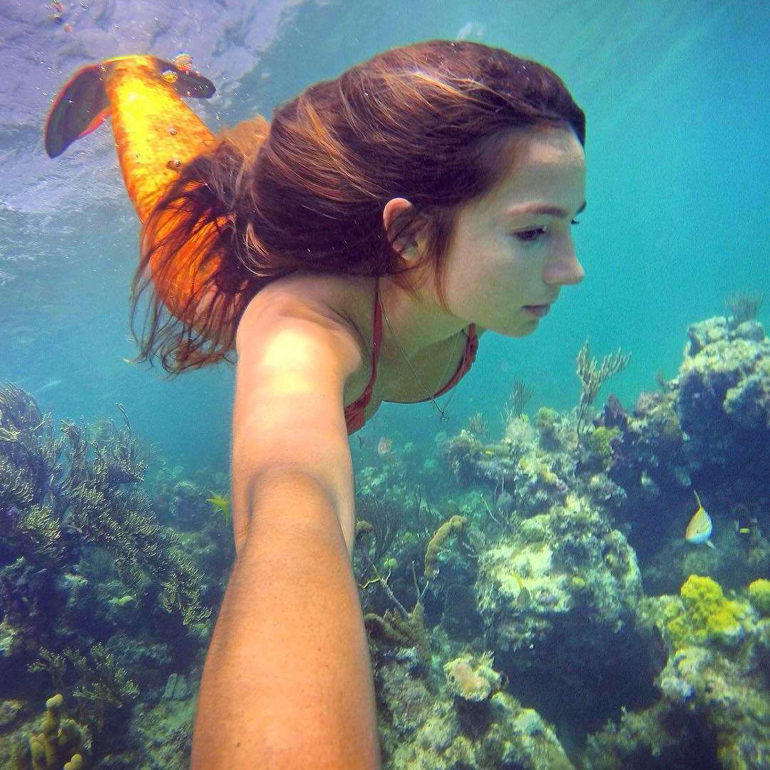 Mermaid selfie in Turks & Caicos. Photo: @hopelevin GoPro HERO4 | GoPole Bobber #gopro #hero4 #gopole #gopolebobber #mermaid #turksandcaicos