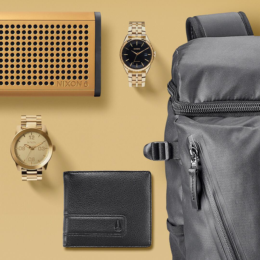 The stealth of all black and the pop of all gold when paired together make for a combination that's hard to beat. #GetGifting on Nixon.com to see our curated guide to all things gold and black for everyone on your list, including you.  #Nixon