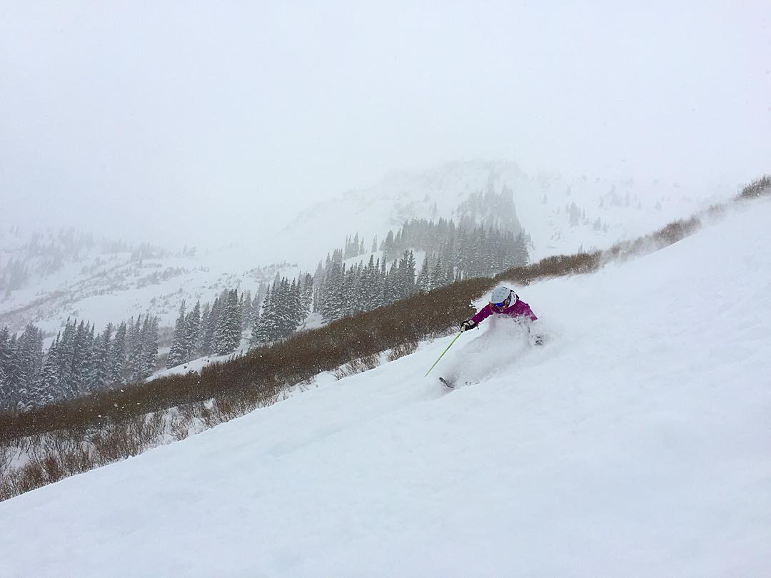 Happy birthday pow for @utahpowdergirl at @altaskiarea.  #shejumps #iamsj