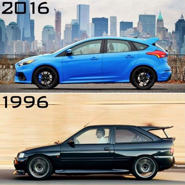 I like this photo comparo between the new 2016 Ford Focus RS, and the 1996 Ford Escort RS Cosworth. Two different cars from very different times - both awesome in their own right. I'm just stoked that there's a new RS coming, AND it's all wheel drive....