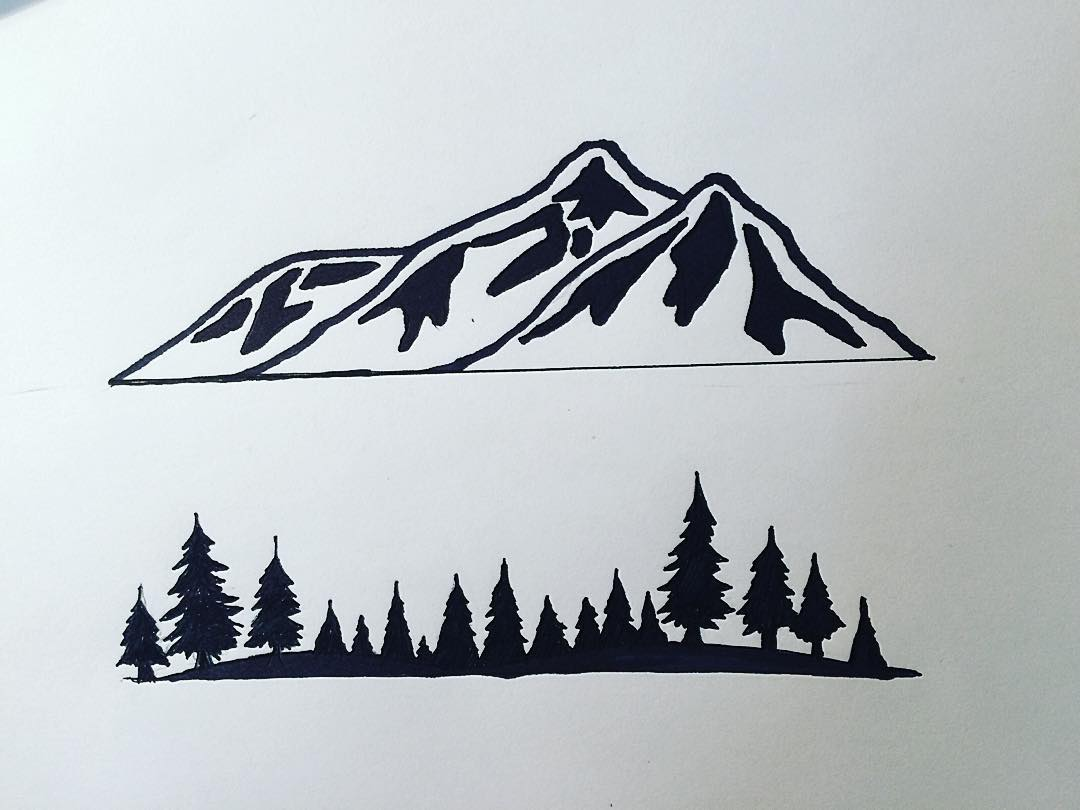 All our artwork starts with a sketch, then we ink it and bring it into the computer. All the pieces come together. #risedesigns #sketch #logo #risedesignstahoe #mountains #trees