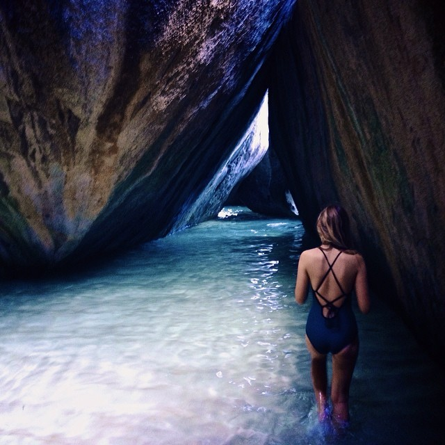 @_lucrecia_  in the Baths of the British Virgin Islands wearing the Cayucos -Abyss #seeacayucos