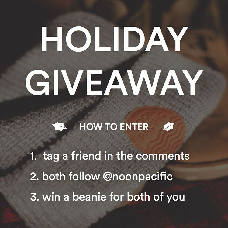 Winner will be announced tomorrow at noon. These are the last two of our limited edition beanies.  #giveaway #contest #noonpacific