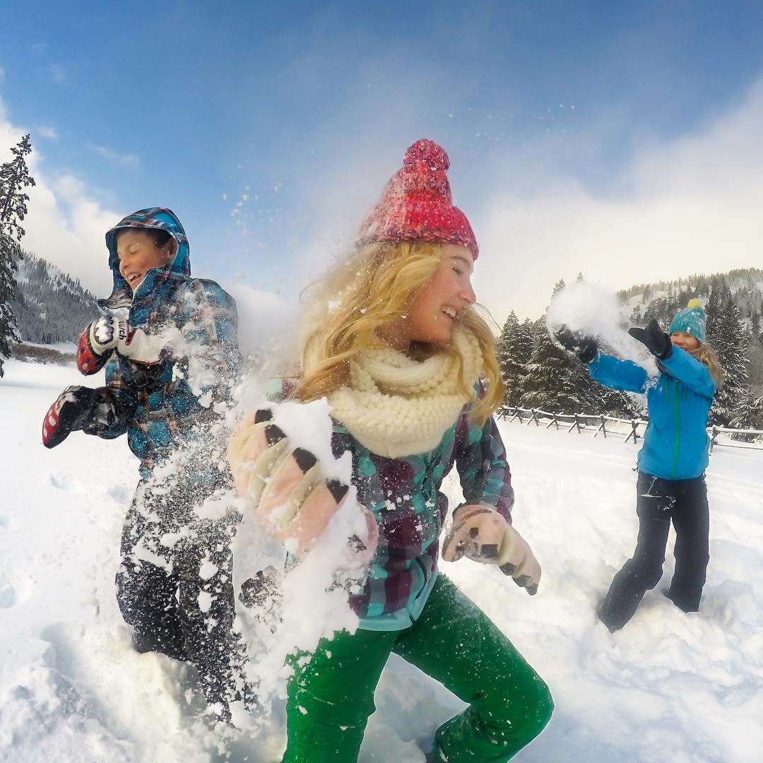 Snowball fight!! Canyon, Luke and Myla end the day at @squawalpine with some good old fashioned fun. Stocking up on snowballs? Share them with us via link in our bio. #GoProSnow #HERO4Session