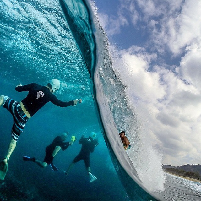 Best of 2015: #7  It's incredible to see what goes into capturing that perfect #surf shot. #GoProAwards recipient @sf_photos_hawaii nailed this over-under of @billykemper on the North Shore of #Oahu and took BTS photography to a new level. Share your...