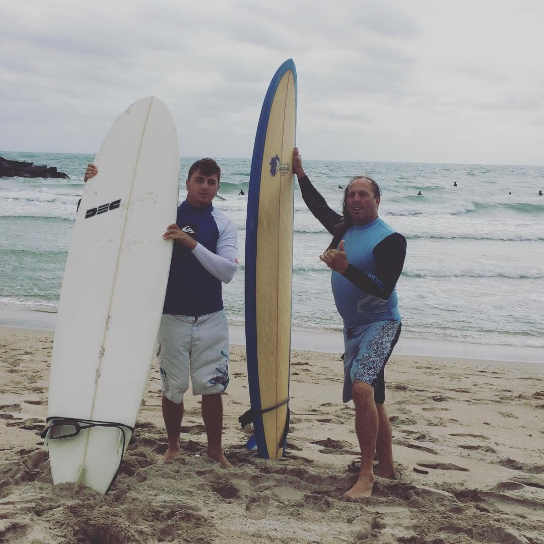"""We're father and son surfers!"" @Blueskylandscapinginc thanks for the pic! #saltlife #surfboard #surfside #miamibeach #ocean #love #sea #stoke #ReSurfProject #fatherandson"