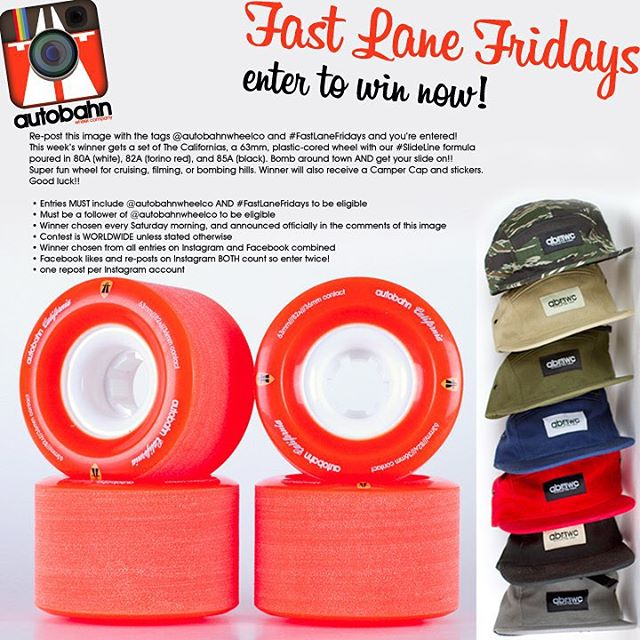 Win some wheels for Christmas! Re-post this image with the tags @autobahnwheelco and #FastLaneFridays and you're entered! This week's winner gets a set of The Californias, a 63mm, plastic-cored wheel with our #SlideLine formula poured in 80A (white),...