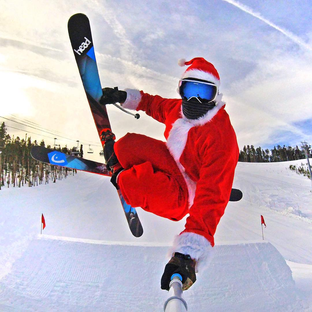 Even after a long night, Santa still has time for park laps through @keystonea51 at @keystone_resort. Happy Holidays!  Athlete: @noah_wallace #gopro #hero4 #gopole #gopolereach #skiing #happyholidays #