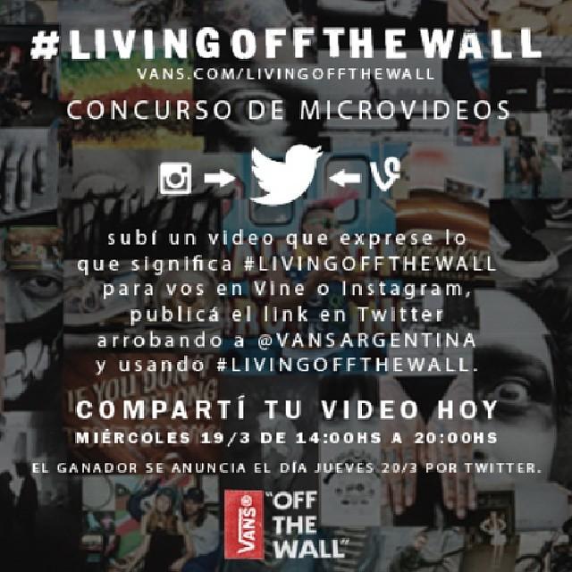 Hoy! Participa de nuestro concurso x Twitter y llevate un par de Vans.  Mas info en: vansargentina.tumblr.com/concursolivingoffthewall