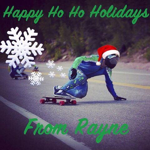 Wishing everyone a happy holidays from Biggie Boss Man @grahambuksa and the whole crew at #raynelongboards. May all of your skate dreams be fulfilled. #snowflakefarts #dumpingthane #jetpropulsion