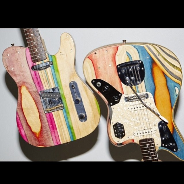 Check out these sick custom guitars made from recycled skateboards by our friend @nickpourfard #recycledskateboards
