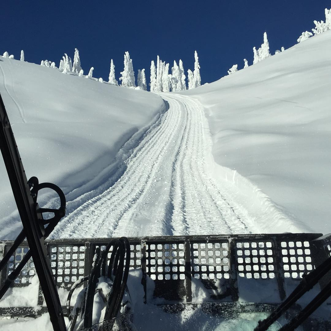 View looking out the front of @BaldfaceLodge's snowcat as we head back up a cat track to the top of a run. This would be the kind of job I could enjoy. Especially if the cats slid the corners a bit more. Ha. #doesithoon #christmasshred #snowcat #nofilter