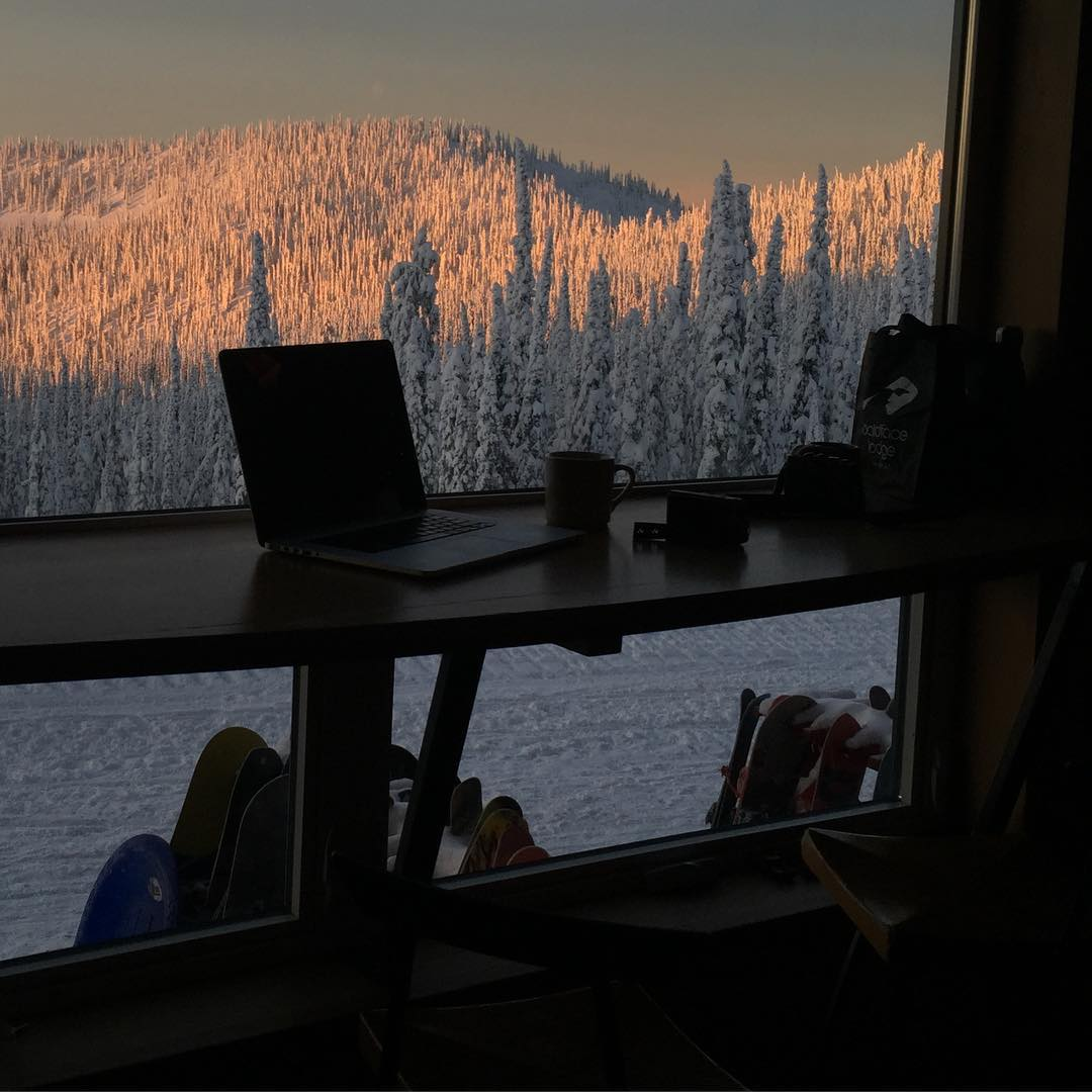 "My morning ""work"" view is pretty epic. #perksofthejob @baldfacelodge"