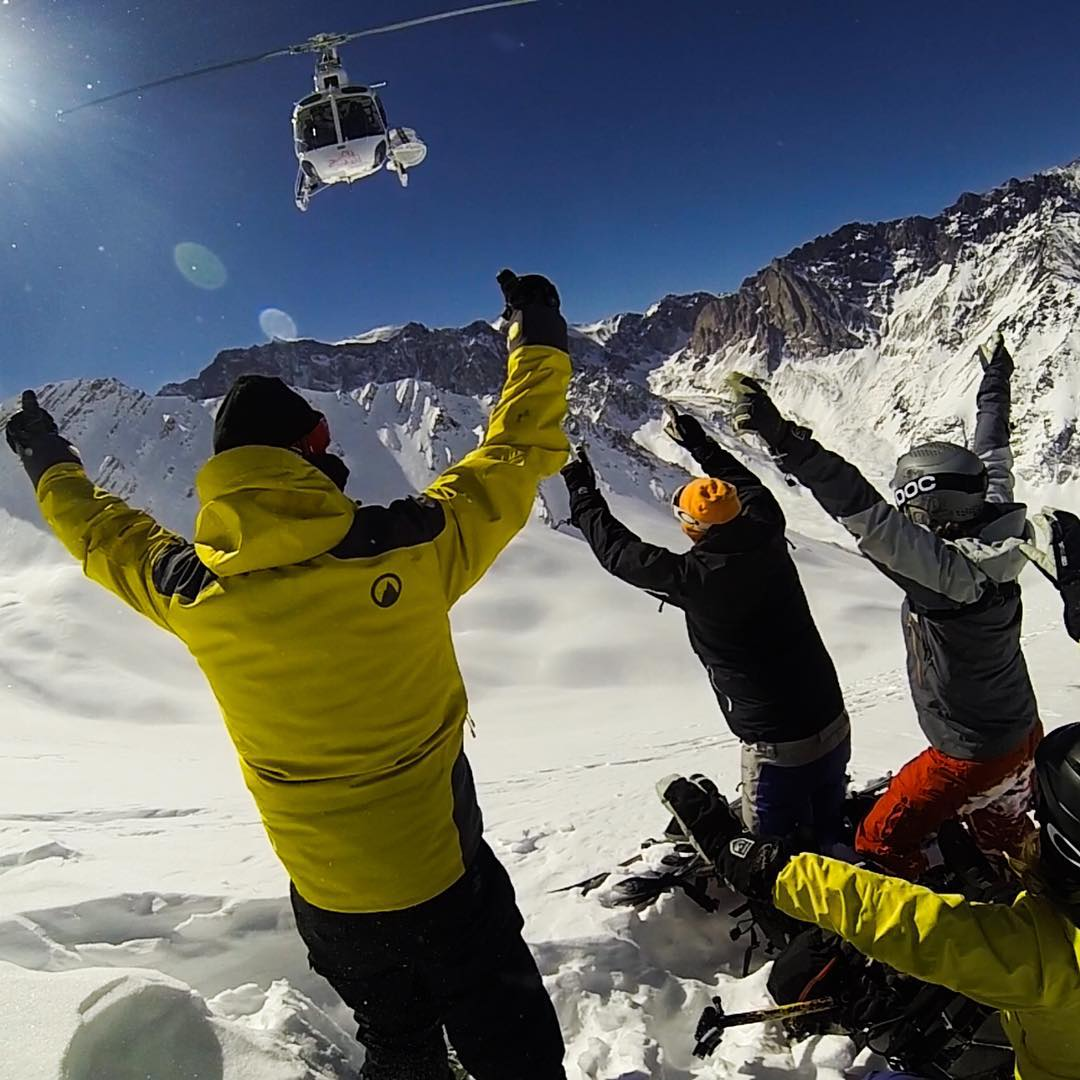 GoPro Featured Photographer - @clarkfyans  About the Shot: Heli Cheer - What better reason than to celebrate getting dropped off at 14,500' on an #Andes Ridge! As a #HeliSki & Mountain guide safety for my crew is number one priority. When you are out...